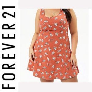 F21 Plus Size Floral Print Skater Dress 1X